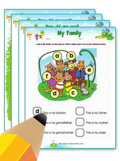Family Members Worksheets