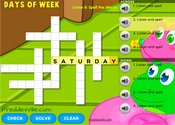 Days of the Week Crossword Puzzle Online
