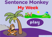 Days of the Week & Weekly Routines Sentence Monkey Game