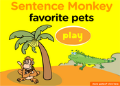 Pets and Domesticated Animals Sentence Monkey Game