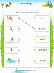 Action Verbs Matching Exercise 1