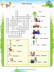 Action Verbs Crossword – Present progressive