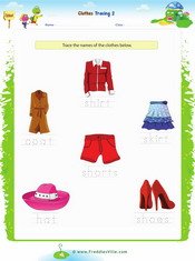 Clothes Tracing/Writing Worksheet