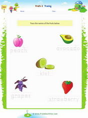 Fruits Tracing, Writing Worksheet 2