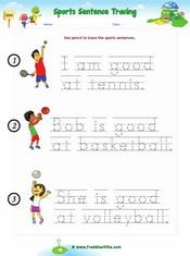 Sports Sentences Tracing