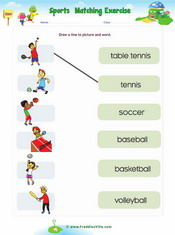 Sports Vocabulary Matching Exercise