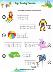 Toys Vocabulary Word Trace