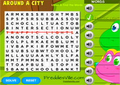 Give Directions, Places in City Word Search Puzzle Online