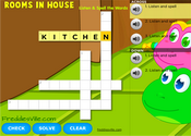 Rooms in a House Vocabulary Crossword Puzzle Online