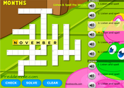 Months of the Year Vocabulary Crossword Puzzle Online