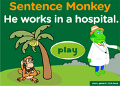 Places in a City, Jobs Sentence Monkey Game