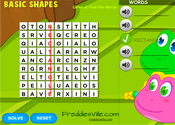 Shapes Vocabulary Word Search Puzzle Online