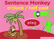 Telling Time, O'clock, Half Past: Sentence Monkey Game