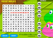 Vegetables Word Search Puzzle Online