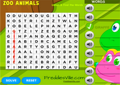 Zoo Animals Word Search Puzzle Online