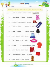 Clothes Vocabulary Spelling Exercise