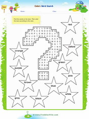 Colors Word Search Puzzle Worksheet
