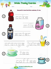 Drinks tracing Worksheet