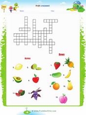 Fruits Crossword Worksheet
