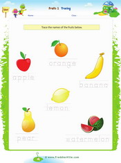 Fruits Tracing, Writing Worksheet 1