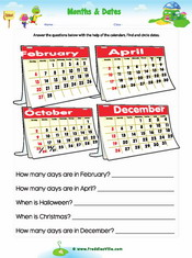 Months/Calendar Reading Worksheet