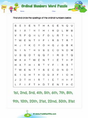 Ordinal Number Word Search