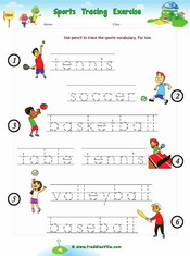 Sports Tracing Worksheet