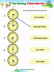 Telling Time – o'clock worksheet
