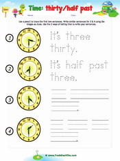 Time Sentence Writing – half past, thirty