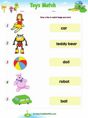 Toys Word Match Worksheet