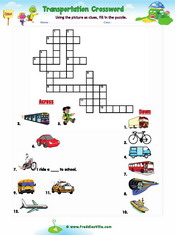 Transportation Crossword Worksheet