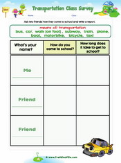 Transportation classroom survey worksheet