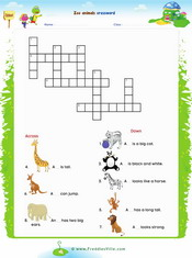 Zoo Animals Crossword Worksheet