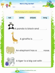Zoo Animals Gap fill Exercise